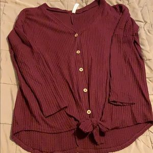 Waffle Button Up Tie Sweater